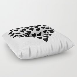 Hearts Heart Black and White Floor Pillow