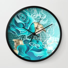 Lacy Background with Turquoise Roses Wall Clock