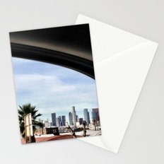 Driving by the LA skyline. Stationery Cards