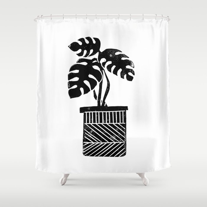 Linocut Cheese Plant Monstera Tropical Leaf Lino Print Black And White Illustration Art Home Dorm Shower