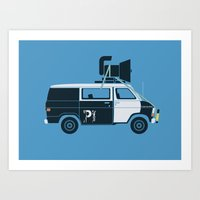 blues brothers Art Prints featuring The Blues Brothers' Van by Brandon Ortwein