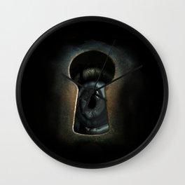 Creature through the keyhole Wall Clock