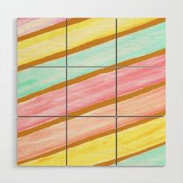 Retro Watercolor Stripes  Wood Wall Art