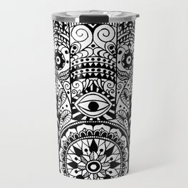 Black and White Hamsa Hand Travel Mug