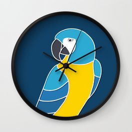 Blue and Yellow Parrot on Dark Blue Wall Clock