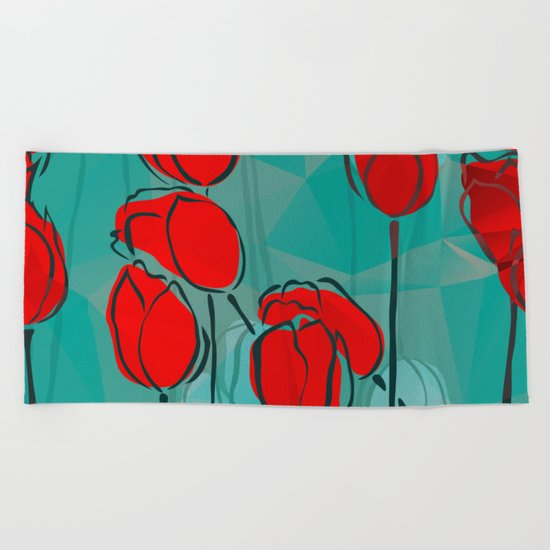 Abstract Tulips Beach Towel