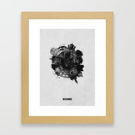 Rome, Italy Black and White Skyround / Skyline Watercolor Painting Framed Art Print