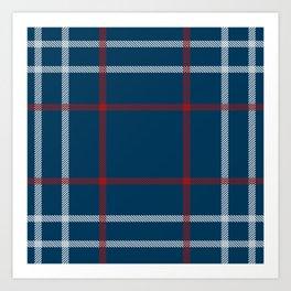 Red, White & Blue Plaid Tartan Pattern Art Print