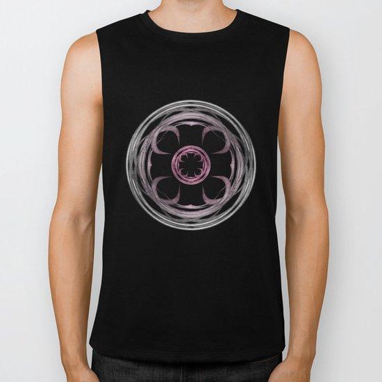 Mandala, silver, purple and pink Biker Tank