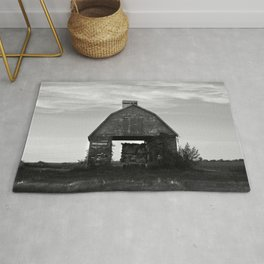 Country Corn Crib Black and White Farm Photography Rug