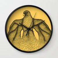 falcon Wall Clocks featuring Falcon by Julia Kisselmann