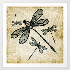 Dragonflies on tan texture Art Print