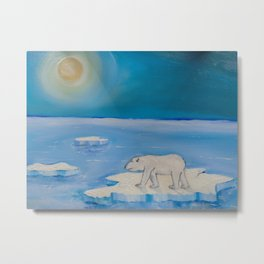 Polar Bear floating on a iceberg Metal Print