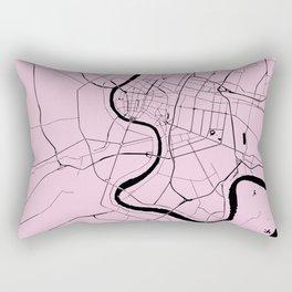 Bangkok Thailand Minimal Street Map - Pastel Pink and Black Rectangular Pillow