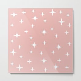 Mid Century Modern Star Pattern 443 Dusty Rose Metal Print