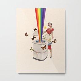 Rainbow Washing Machine Metal Print