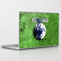 finland Laptop & iPad Skins featuring Old football (Finland) by seb mcnulty