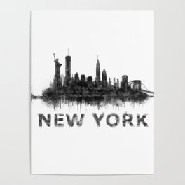 NY New York City Skyline NYC Black-White Watercolor art Poster
