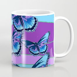 MODERN INDIGO BLUE BUTTERFLIES & PURPLE  HORIZON LANDSCAPE Coffee Mug