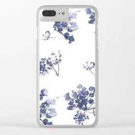 Blue watercolor lace flower print Clear iPhone Case