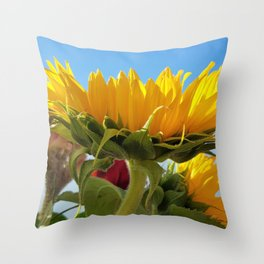 A Summer Bouquet 17 - sunflowers, roses and cockscomb Throw Pillow