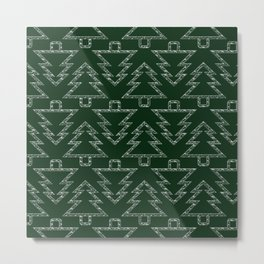Merry Christmas- Abstract christmas tree pattern on festive green Metal Print