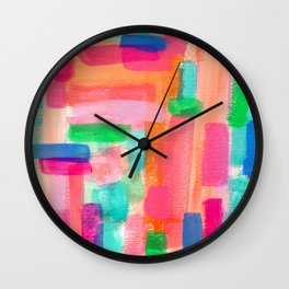 Welcome To My Fantasy abstract pattern geometric acrylic painting rainbow colorful modern Wall Clock