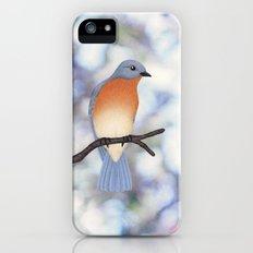 female eastern bluebird bokeh background iPhone SE Slim Case