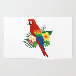 Tropical Macaw Floral Watercolor Rug