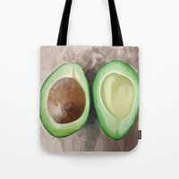 avocado Tote Bags featuring Avocado by TabithaShaw