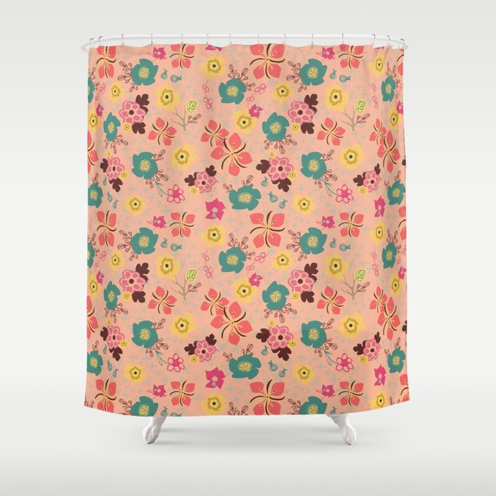Ditsy Flowers in Pink Shower Curtain