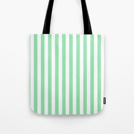Large Mint Green and White Vertical Cabana Tent Stripes Tote Bag