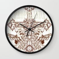 guns Wall Clocks featuring Crossing guns by Tshirt-Factory