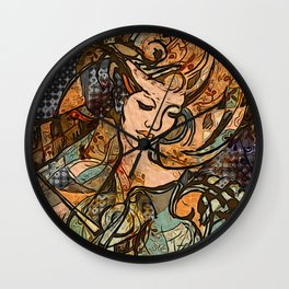 Warrior woman - inspired by Art Nouveau style Wall Clock