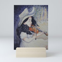 Woman's Autumnal Twilight Serenade,violin in the forest, watercolor painting Mini Art Print