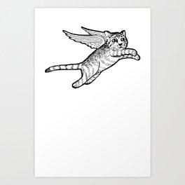 A flying cat Art Print