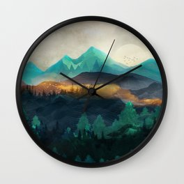 Green Wild Mountainside Wall Clock