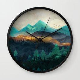 Green Wild Mountainside Wall Clock