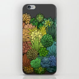 Succulent Garden Rainbow grey sky iPhone Skin