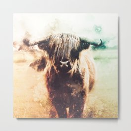 Bison Abstract Watercolor Painting Metal Print