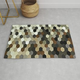 Honeycomb Pattern In Neutral Earth Tones Rug