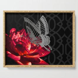 Red Flower Butterfly & Imperial Trellis Serving Tray
