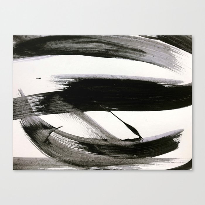 Brushstroke 9: a bold, minimal, black and white abstract piece Leinwanddruck