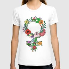 Feminist flower in color Womens Fitted Tee SMALL White
