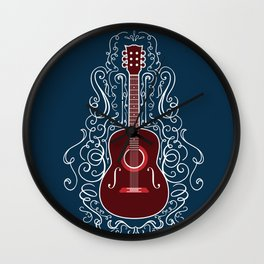 Acoustic Guitar With A Scroll Design Wall Clock