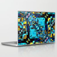technology Laptop & iPad Skins featuring Blue Technology Abstract by Phil Perkins
