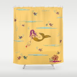 Fashionable mermaid - yellow-orange Shower Curtain