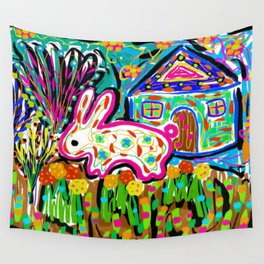 Rabbit and House Wall Tapestry