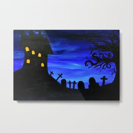 Haunted House Silhouette Metal Print
