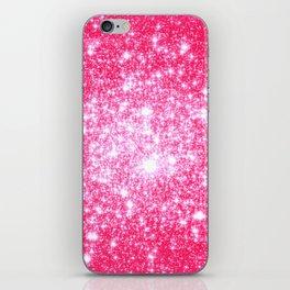 Hot Pink Galaxy Stars Sparkle iPhone Skin